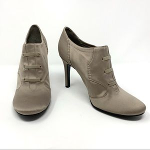 Nine West Dark Silver Hidden Knot Lace Booties